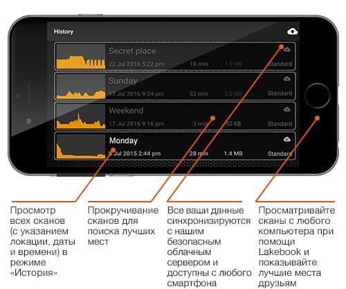 Первый пример интерфейса эхолота Deeper Start